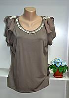Кофейная женская летняя футболка жемчуг большой размер, фото 1