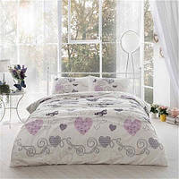 Двуспальное евро постельное белье Linens Clementine Lilac Ранфорс