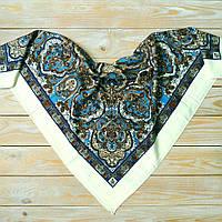 Красивый платок с синим орнаментом (80х80см, шампань, 80%-шерсть), фото 1