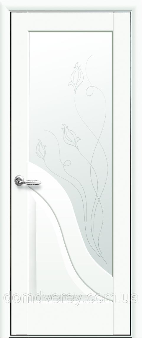 Двери межкомнатные Новый Стиль, Маэстра, модель Амата, Стекло сатин с рисунком P2  Белый матовый