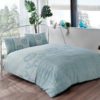 Двуспальное евро постельное белье Linens Nico Blue Ранфорс