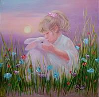 "Картина на холсте ""Лизуни с кроликом"""