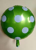 """Фольгированный шар """"Круг"""" горох зелёный"""
