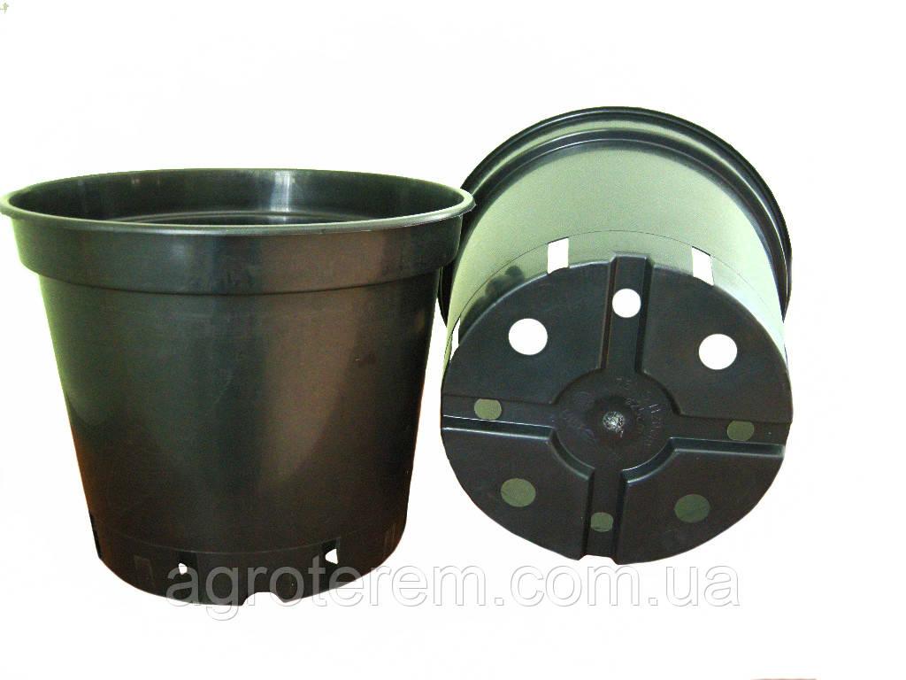 Горшок  25см х 20,5см. 7.5л. (Польша),  технологический для рассады, круглый, черный.