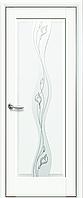 Двері міжкімнатні Новий Стиль, Маестра, модель Хвиля, Скло сатин з малюнком P2 Білий матовий
