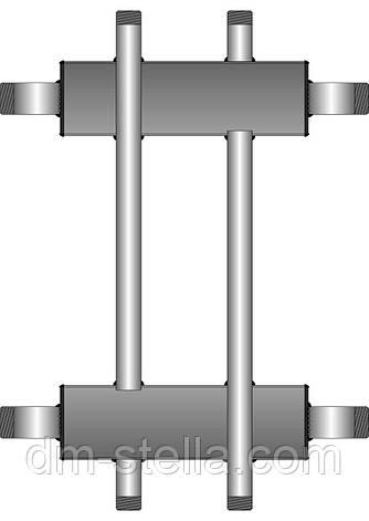 Коллекторная балка 1 контур вверх (вниз)  1 контур вниз (вверх)  до 120 кВт, фото 2