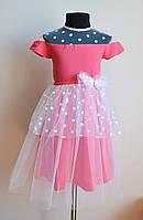 Нарядное детское платье малинового цвета с фатином