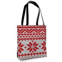 """Сумка женская городская с принтом """"вязаный орнамент красные снежинки"""",сумки оптом"""