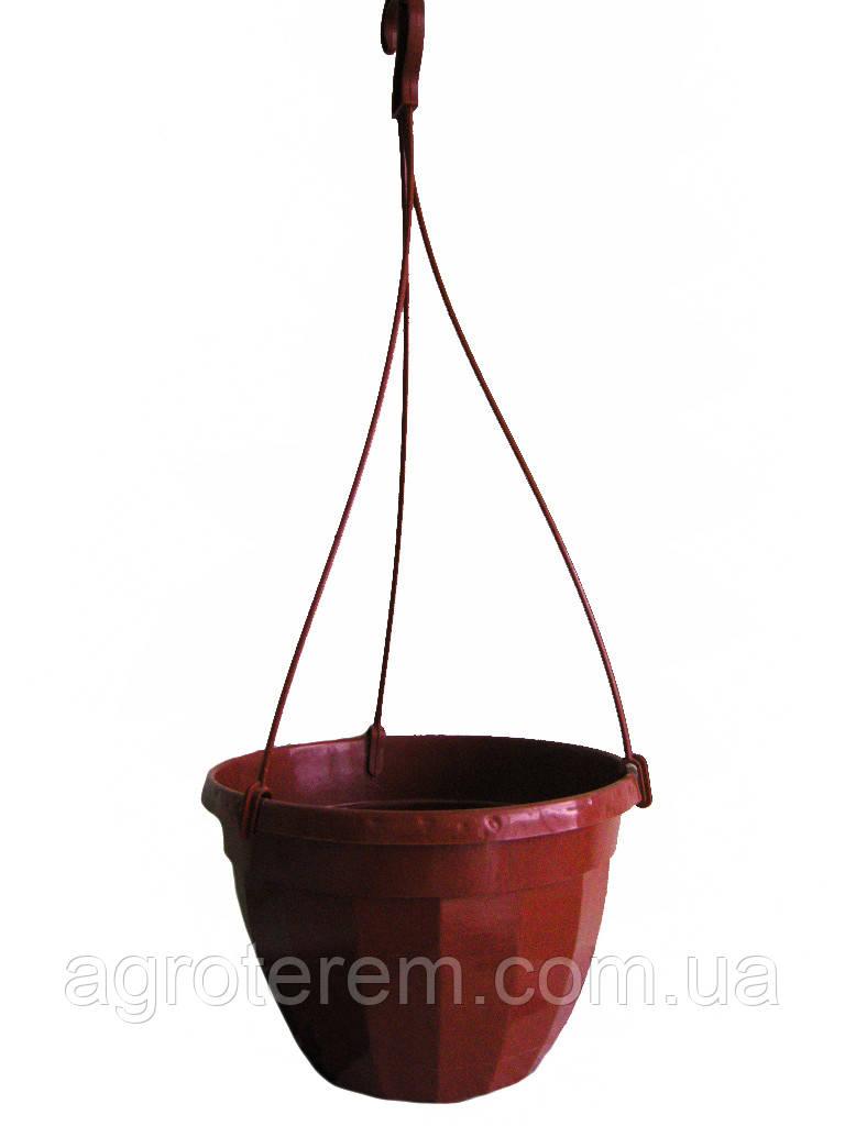 Подвесной горшок 23 с крюком (коричневый) Польша.