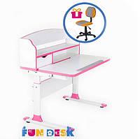 Парта для школьника для дома FunDesk Sentire Pink + Детское кресло LST4