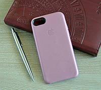 Оригинальная розовая накладка-чехол из кожи для iPhone 7