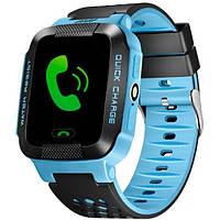Cмарт часы детские Smart Y21 + фонарик.Синие с трекером и прослушиванием!