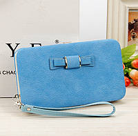 Модный женский кошелек с бантиком голубой