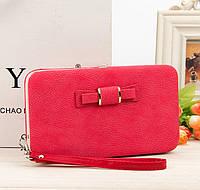 Женский кошелек клатч с бантиком красный