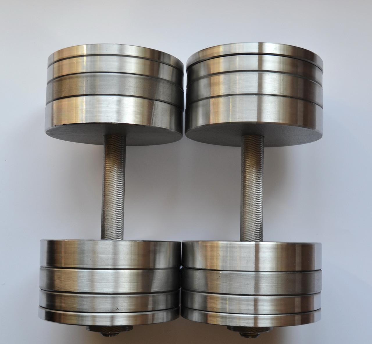 Гантели 2 по 34 кг разборные стальные. Сталеві гантелі