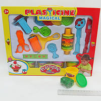 "Тесто д/лепки ""Plasticine magical"" 4цв*50g, набор с формочками и инструментами"