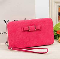 Розовый женский кошелек клатч с бантиком