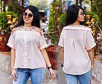 Женская рубашка со вставками гипюра и имитацией приспущенного ворота, разные расцветки, большие размеры