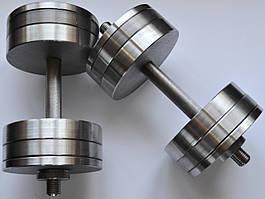 Гантели 2 по 24 кг разборные стальные D 25 мм. Сталеві гантелі