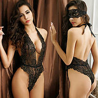 Женское эротическое белье боди, черное комплект с маской, кружевное, нижнее, сексуальное 11129с-б