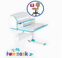Стол-трансформер для школьника FunDesk Sentire Blue + Детское кресло LST4