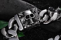 Мужской большой браслет байкерский Черепа Чистый сталь 316L Готический стиль