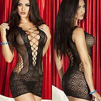 Женское эротическое, нижнее сексуальное белье, стрейч - платье, сетка, пеньюар черный 11105с-а