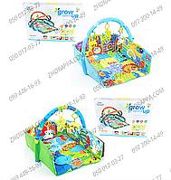 Коврик для младенца D 103-104, дуга, подвески, зеркало, в 1 игрушке музыка, свет, на батарейках, 2 вида