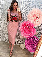 Женское красивое платье-майка с нашивкой и бисером (3 цвета)