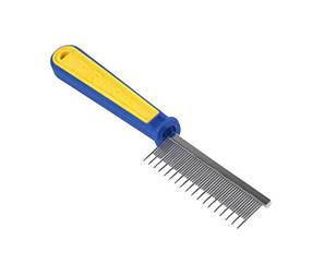 """Расческа ТМ"""" FOX"""" пластиковая желто-синяя, с частыми разнозубьями, 21х 3 см"""