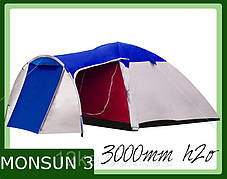 Палатка Presto Monsun 3 клеенные швы тамбур, фото 2