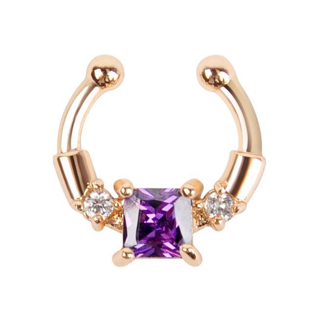 Серьга-обманка в нос Chic с фиолетовым камнем