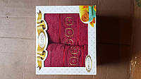 Махровые полотенца в наборе в подарочной упаковке