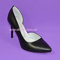 Стильные женские туфли на шпильке, натуральная кожа черного цвета