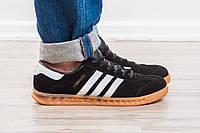 Размеры только 43 и 44 !!!!!   Мужские кроссовки Adidas Hamburg / Адидас/ Black-White