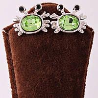 """Серьги-гвоздики с зелеными кристаллами """"Лягушки"""""""