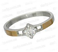 """Женское серебряное кольцо с золотыми пластинами """"Секрет"""", фото 1"""