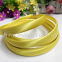 Ободок для волос в атласе, желтый, 1,5 см