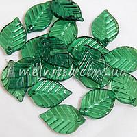 Пришивной декор - листик, 22х14 мм, зеленый