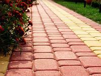 Тратуарная плитка Золотой мандарин Старый город Красный цвет на сером цементе нагрузка:4 см(94 кг/м2)Область применения: пешеходная зона