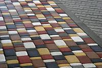 Тратуарная плитка Золотой мандарин Старый город Белый цвет на белом цементе нагрузка:4 см(94 кг/м2)Область применения: пешеходная зона
