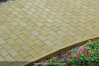 Тратуарная плитка Золотой мандарин кирпич стандартный (200х100) Горчичный цвет на сером цементе нагрузка:4 см(94 кг/м2)Область применения: пешеходная