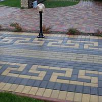 Тратуарная плитка Золотой мандарин кирпич стандартный (200х100) Черный цвет на сером цементе нагрузка:4 см(94 кг/м2)Область применения: пешеходная