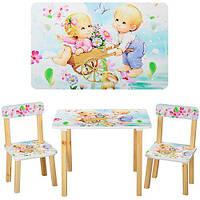 Деревянный столик со стульчиками 501-18 цветы***