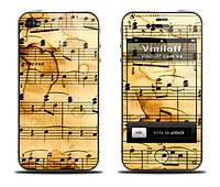 """Наклейка на iPhone 5,5S / 4,4S / 3Gs,3G / 2G """"Старинные ноты"""""""