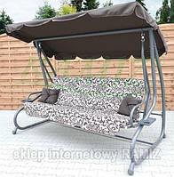 Садовая качеля - диван 4-х местная раскладная КОРИЧНЕВАЯ новый дизайн + 2 подушки в подарок