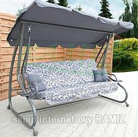 Садовая качеля - диван 4-х местная раскладная Серая новый дизайн  + 2 подушки в подарок
