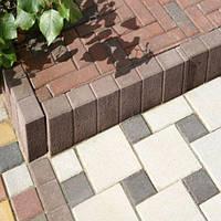 Золотой мандарин Поребрик фигурный квадратный (500х250х80) Коричневый цвет на сером цементе Вес 23,3 кг