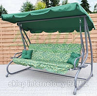 Садовая качеля - диван 4-х местная раскладная новый дизайн Зеленая В НАЛИЧИИ + 2 подушки в подарок