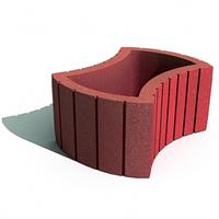 Золотой мандарин Цветочница круглая(450х660х250) Красный цвет на сером цементе Вес 63,3 кг